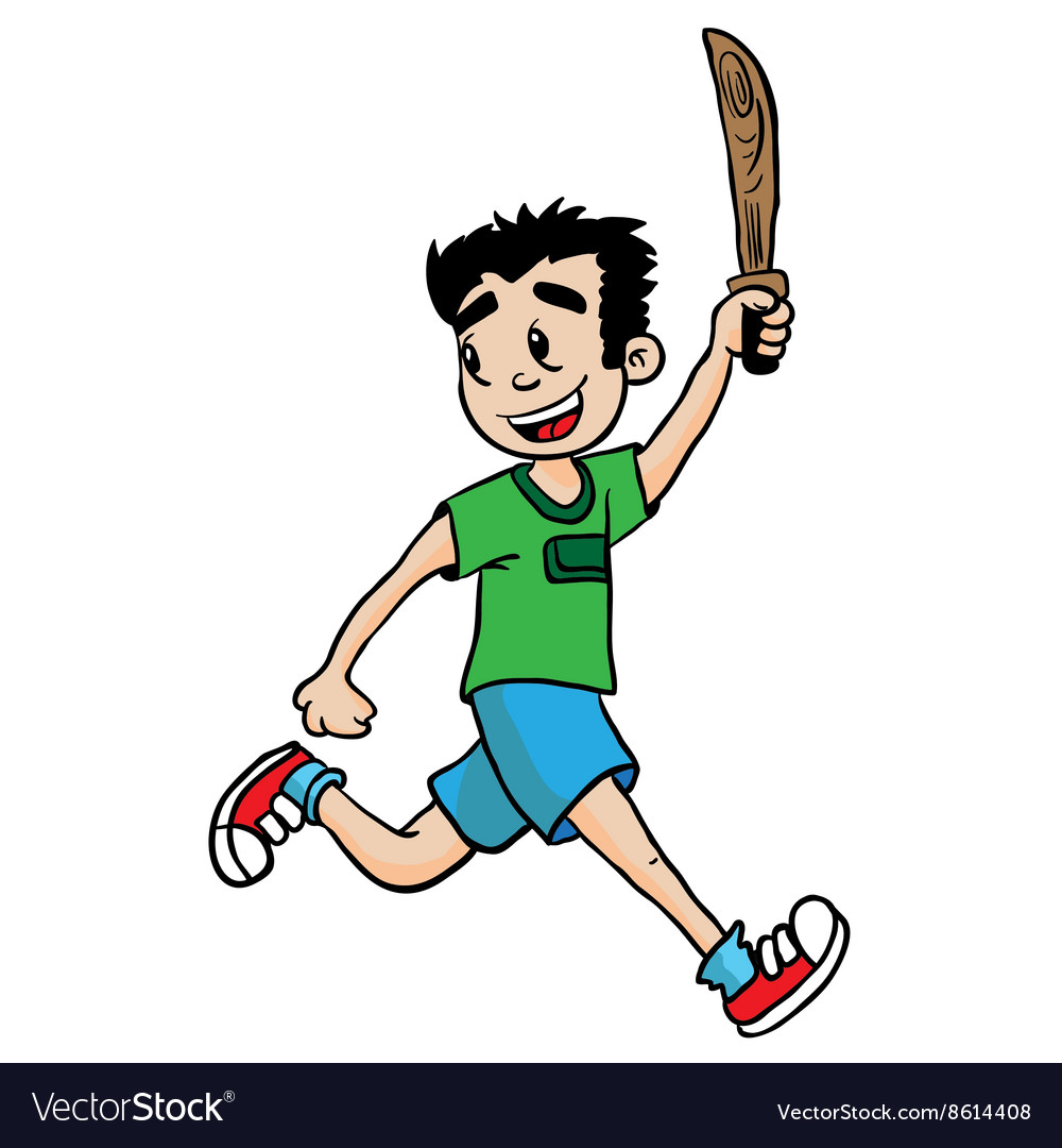 Boy with wooden sword vector