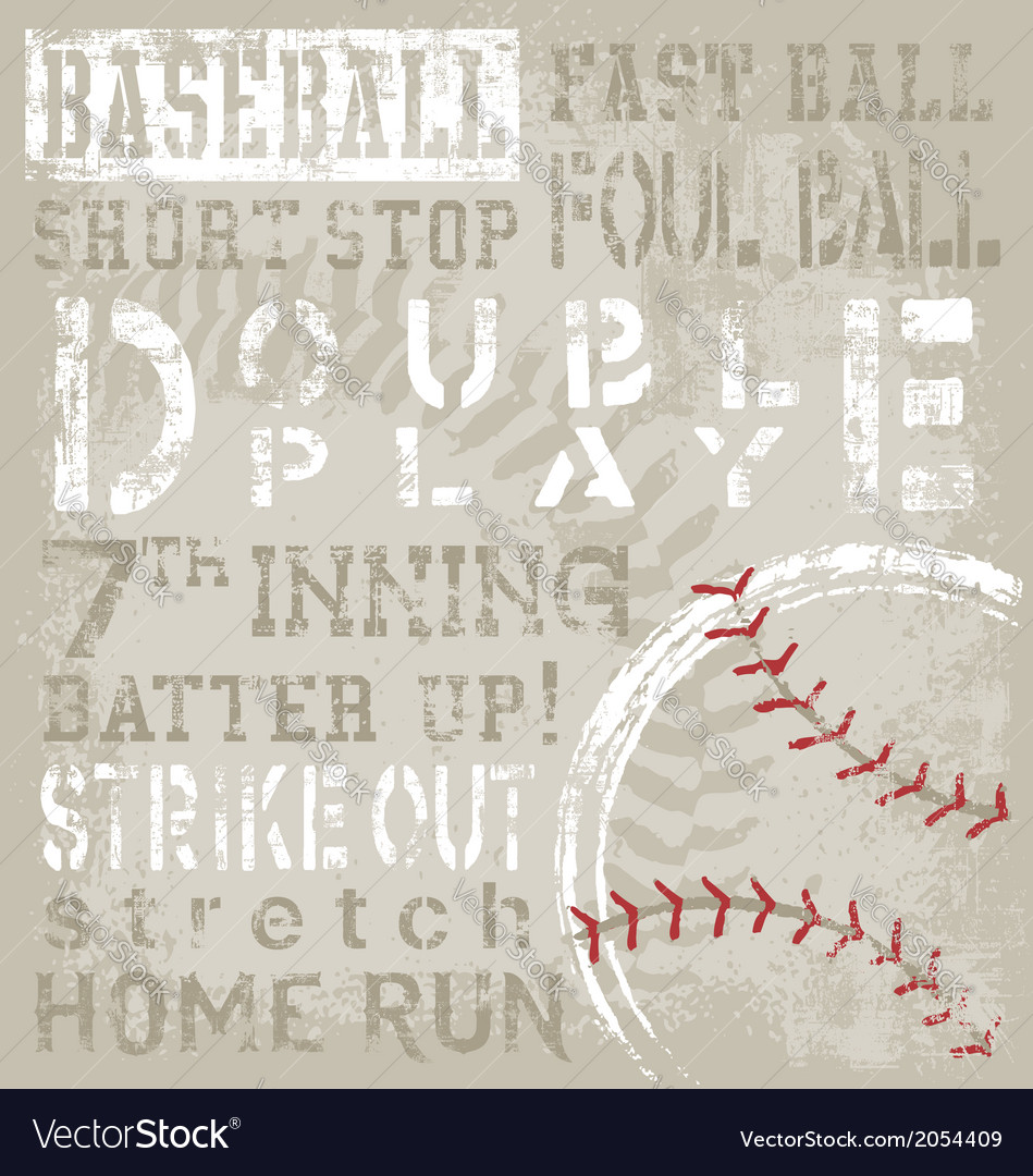 Baseball terms vector