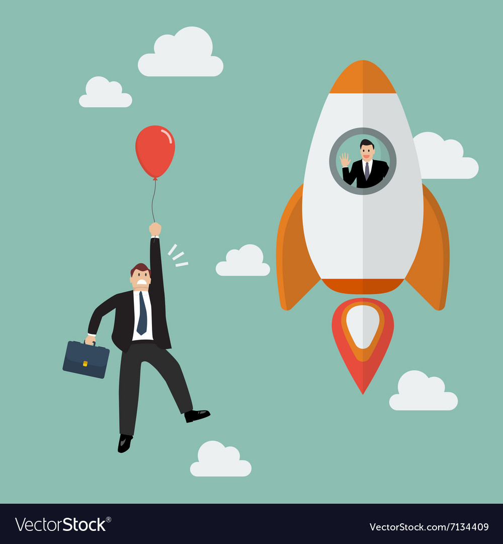 Businessman on a rocket fly pass businessman with vector