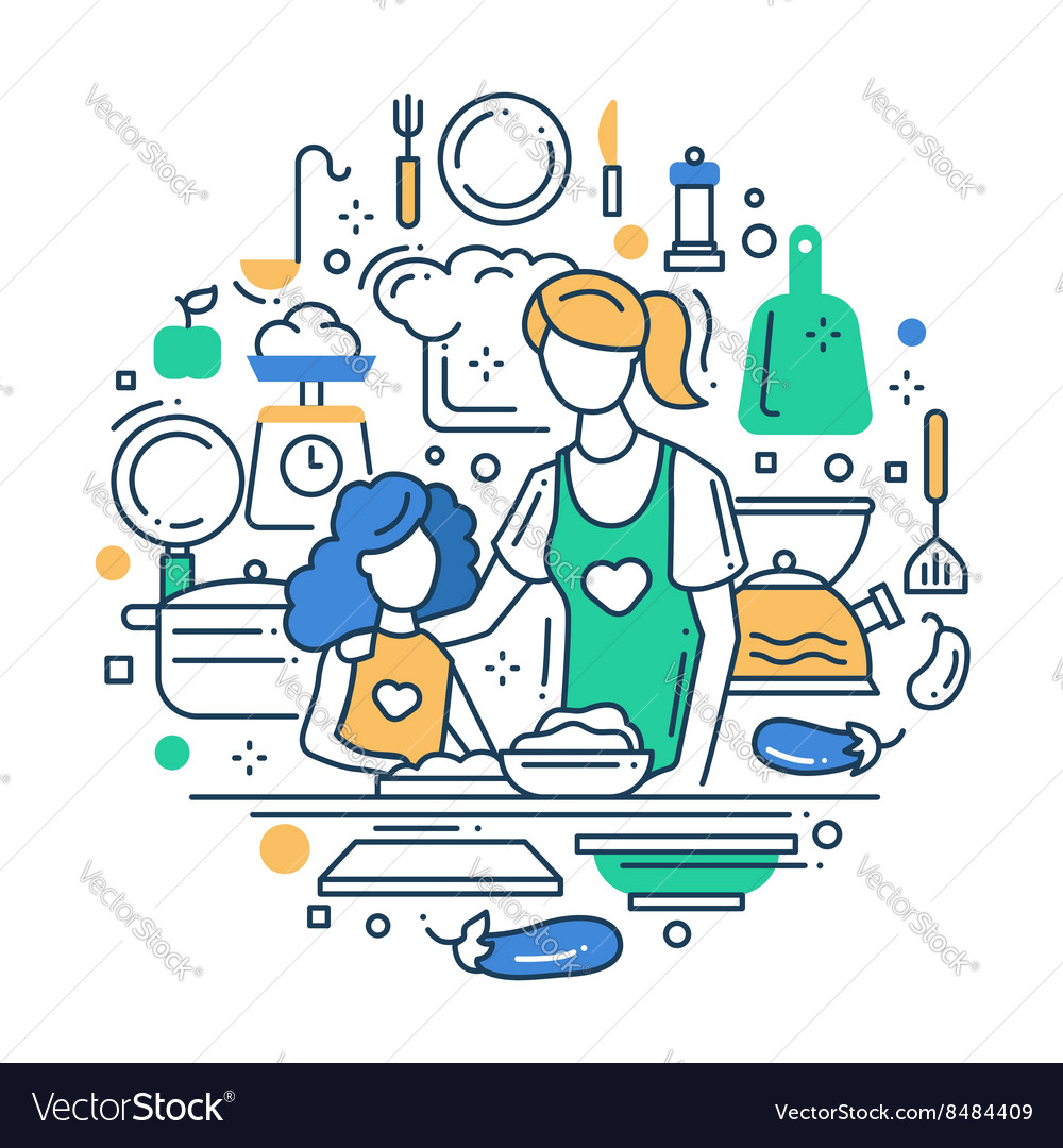 Mother and daughter at the kitchen  line design vector
