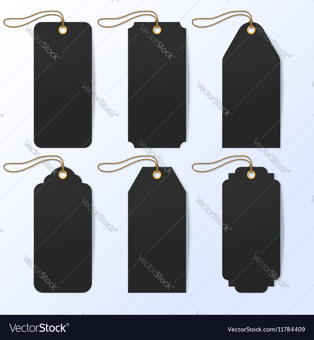 Set of black realistic six sale price tags vector
