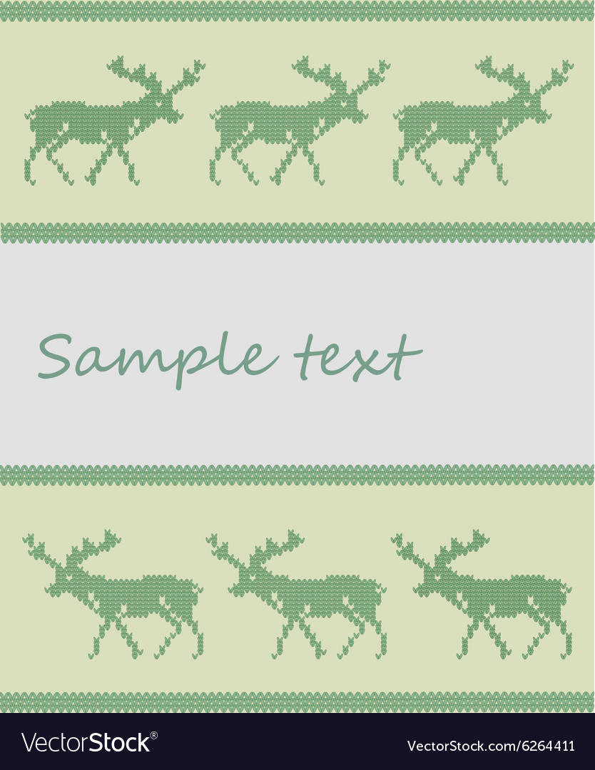 Knitted deer background vector