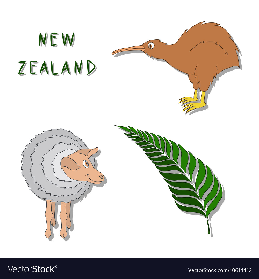 New zealand symbols set of cartoon colored icons vector