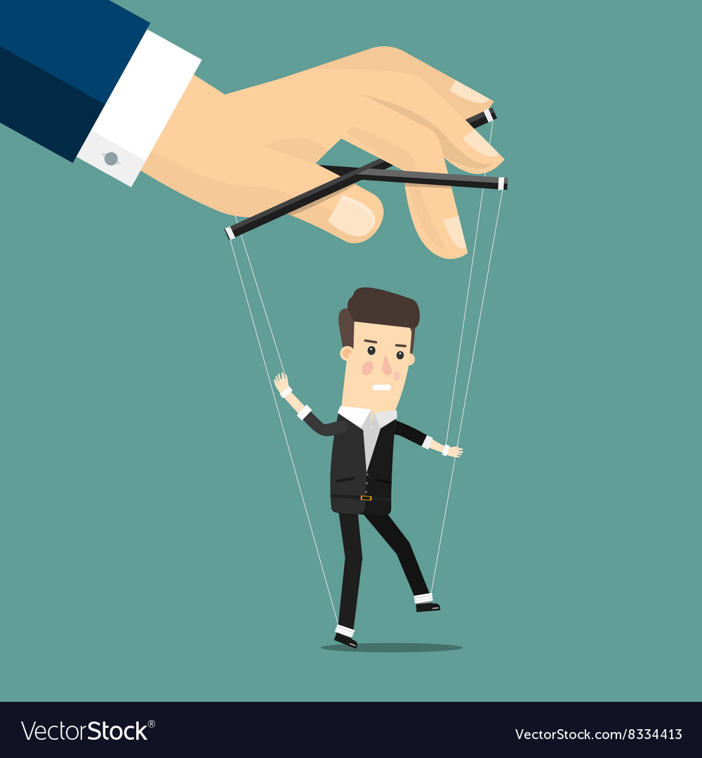 Businessman marionette on ropes controlled hand vector