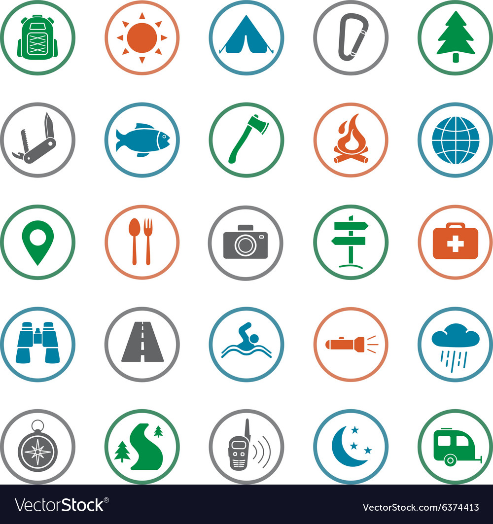 Camping icons set silhouette vector
