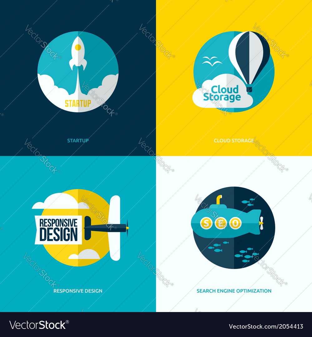 Flat design of the startup cloud storage seo vector