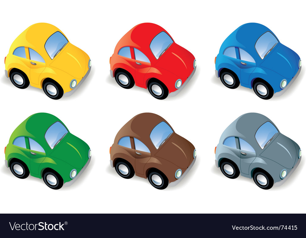 Car set in six different colors vector