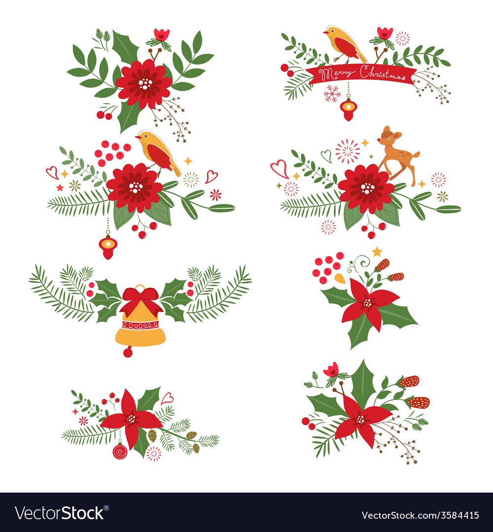 Colorful christmas banners and laurels vector
