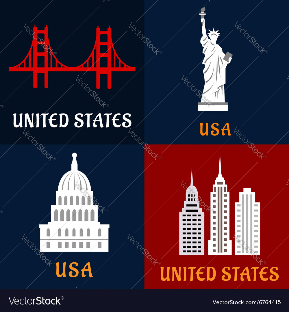 United state landmark and travel flat icons vector