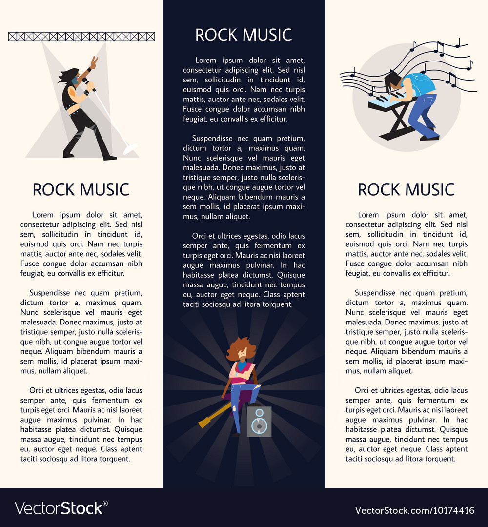Banners with rock musicians playing instruments vector