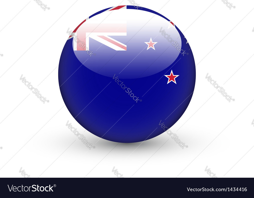 Round icon with national flag of new zealand vector