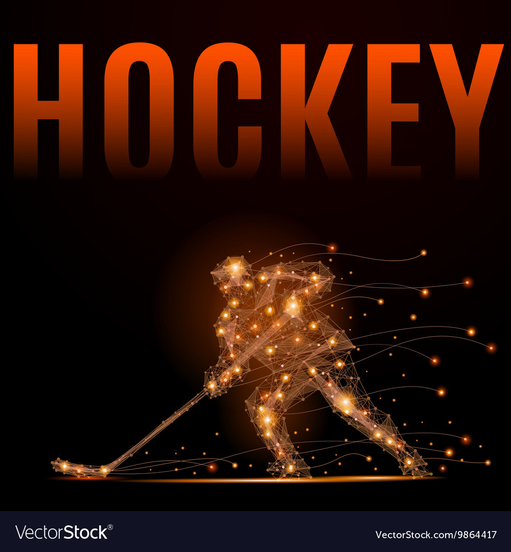 Hockey player poly vector