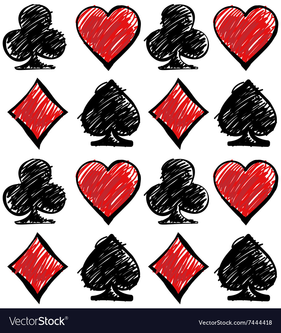 Four card suits cards deck pattern vector