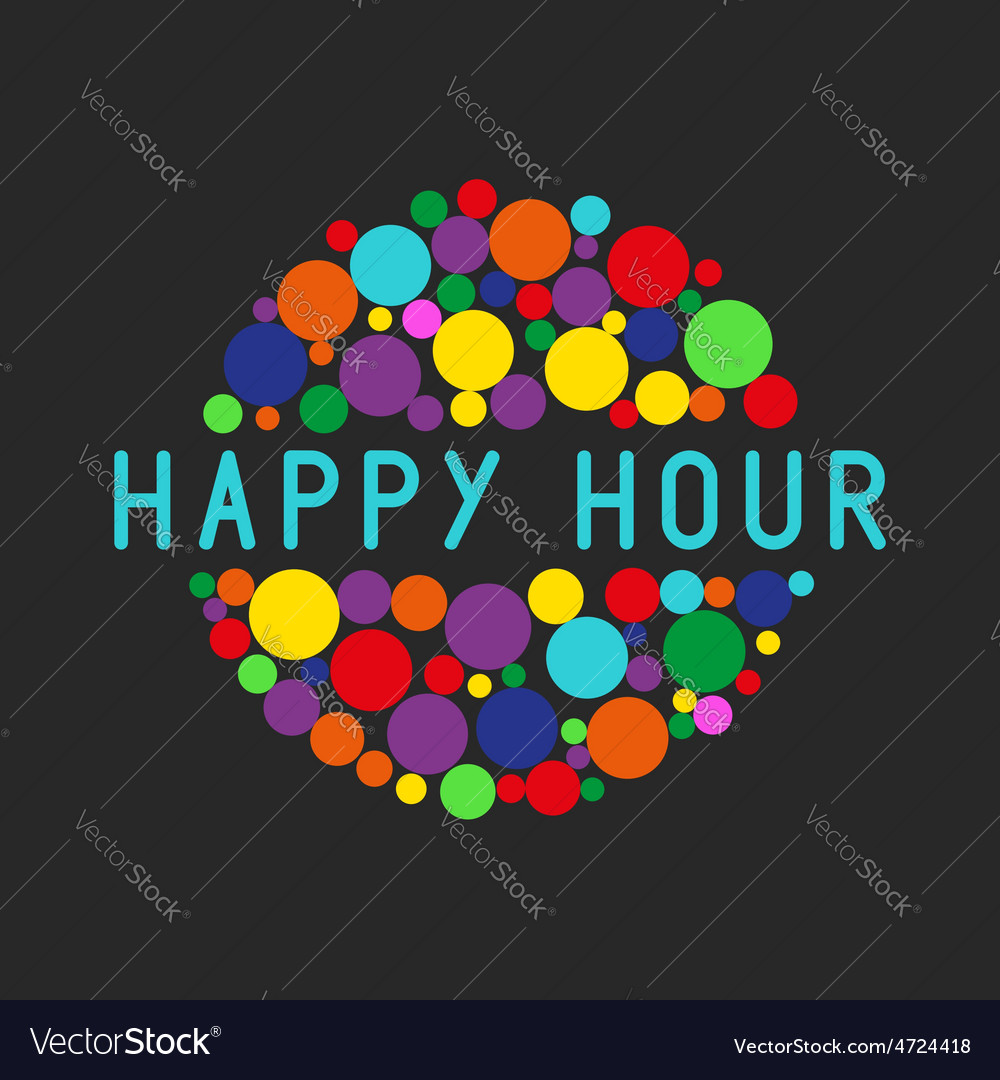 Happy hour party poster colorful bubbles of free vector