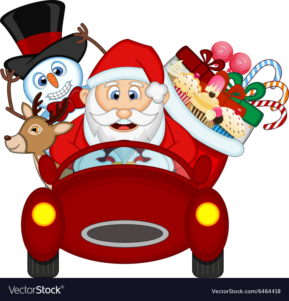 Santa claus driving a red car along with reindeer vector