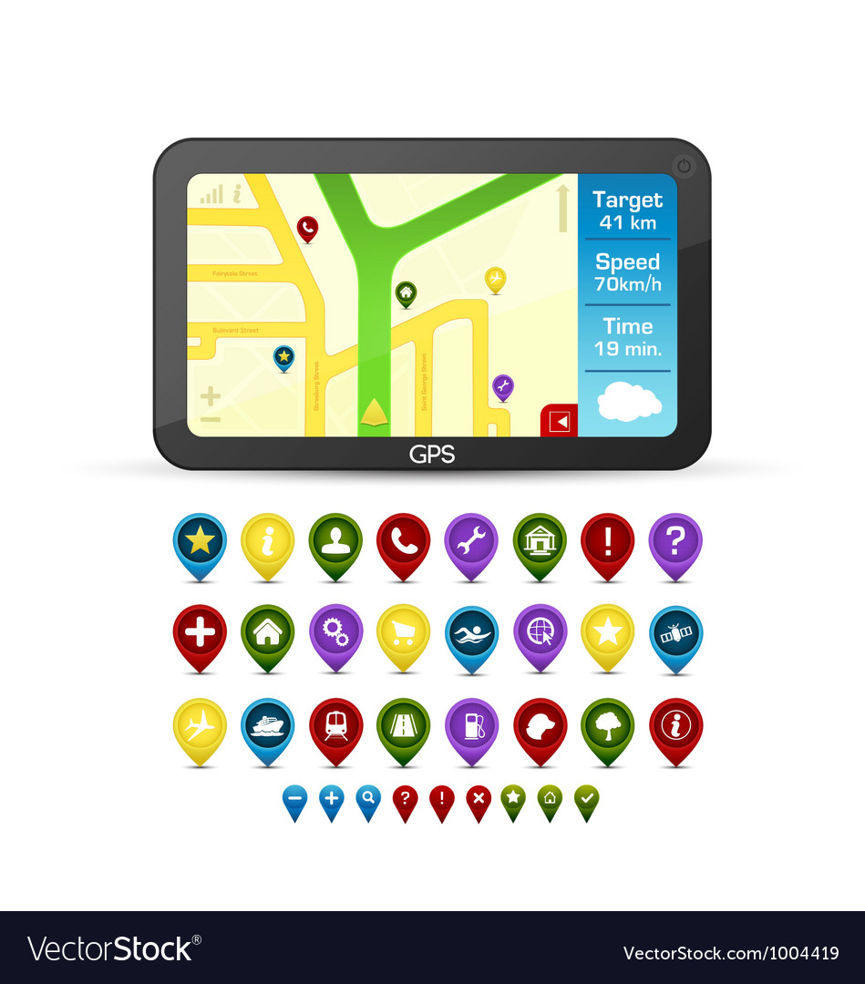 Gps device with detailed icons vector