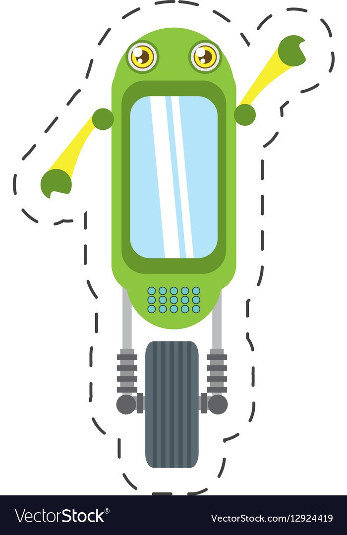 Green robot technology innovation cutting line vector