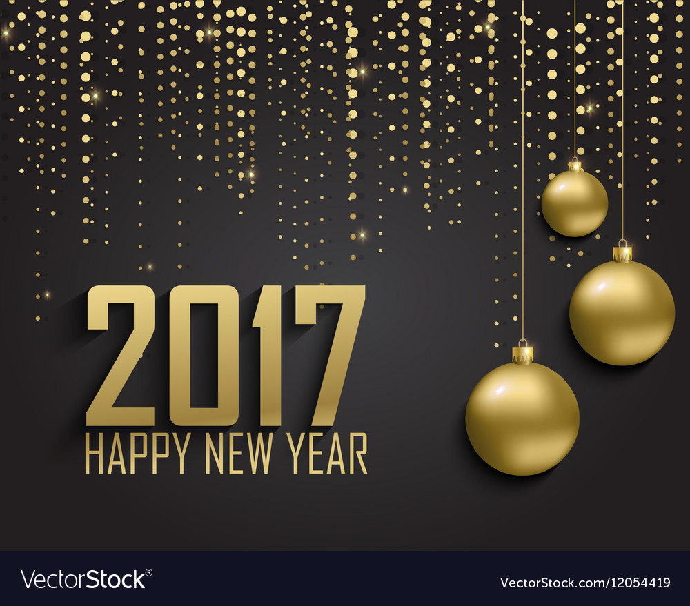 Greeting card invitation with happy new year 2017 vector