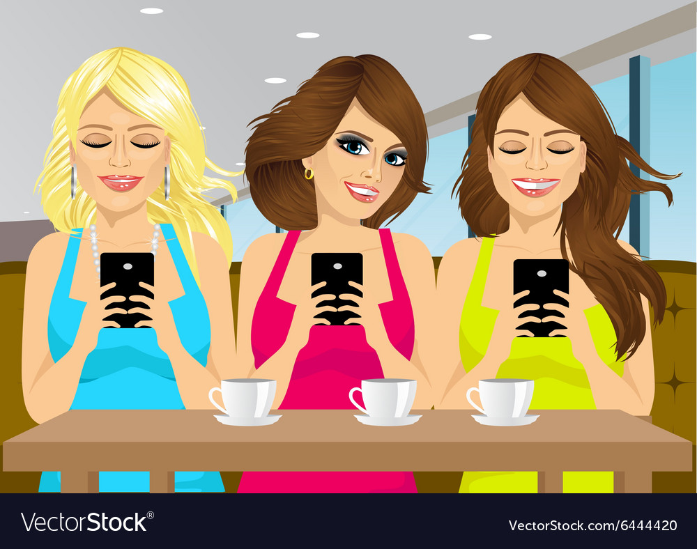 Girls looking at smartphone at a coffee shop vector