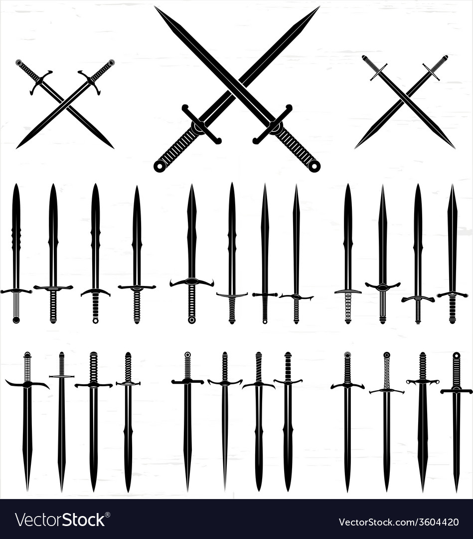 Sword silhouette set vector