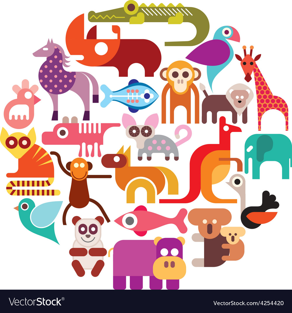 Zoo animals round vector