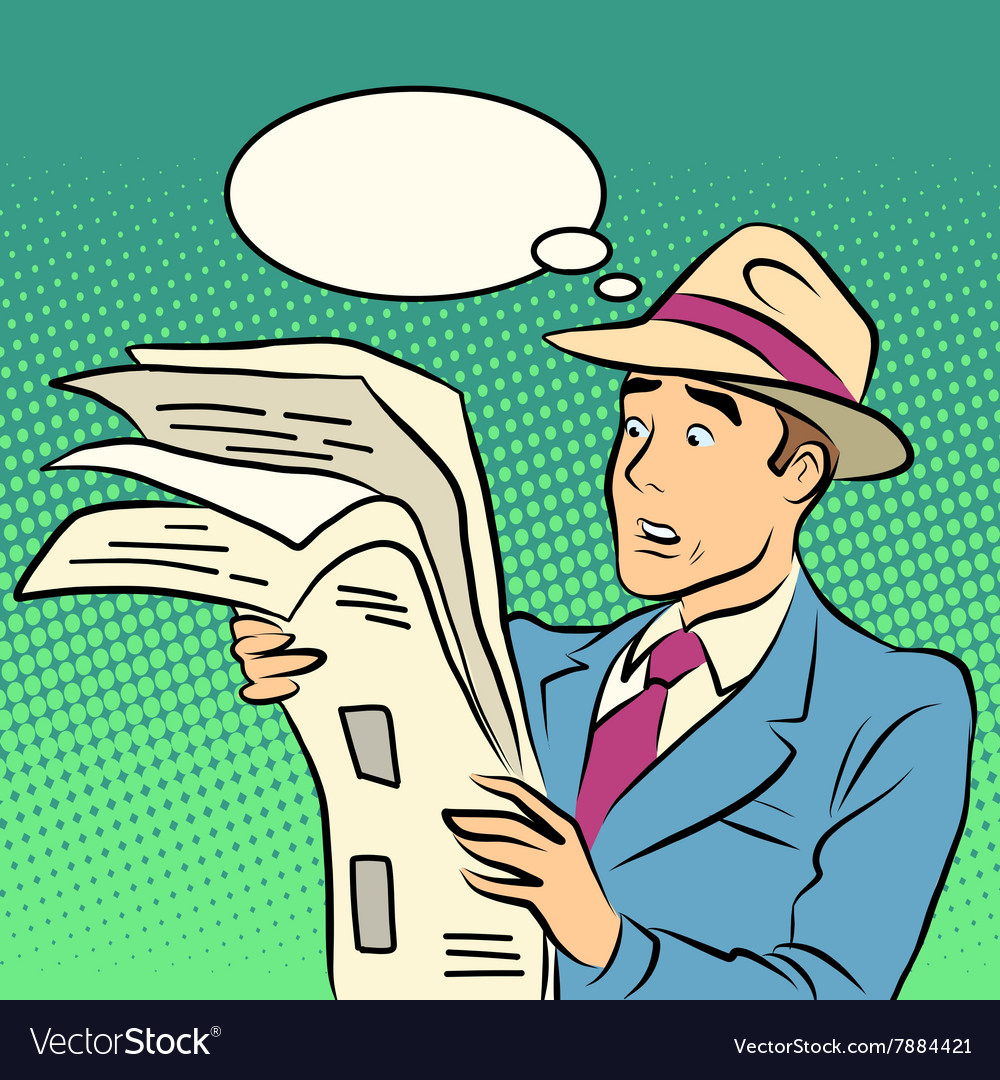 Awesome news man reading a newspaper vector
