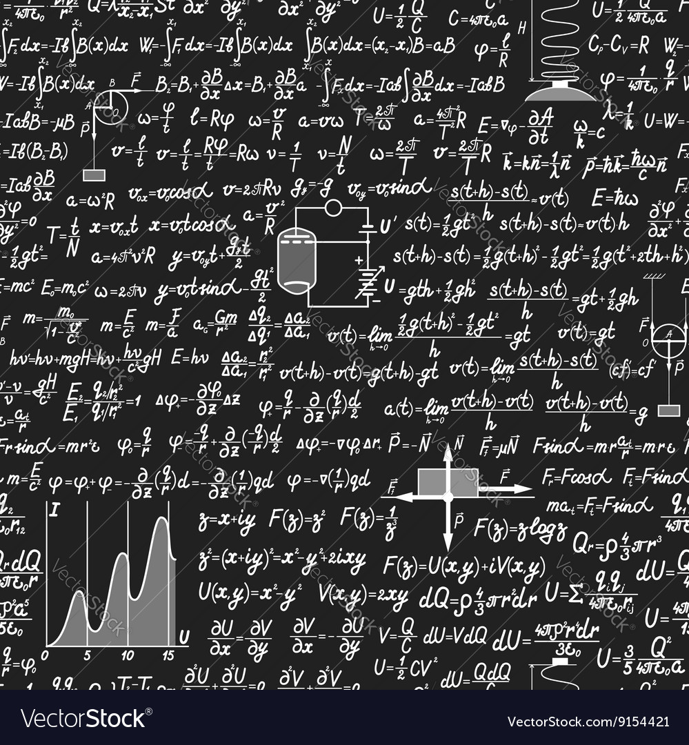 Physical seamless pattern on a blackboard vector