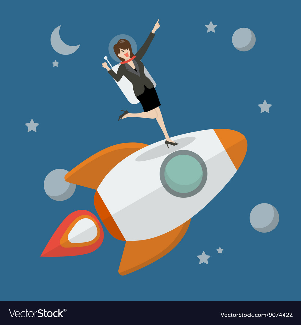 Business woman astronaut standing on a rocket vector