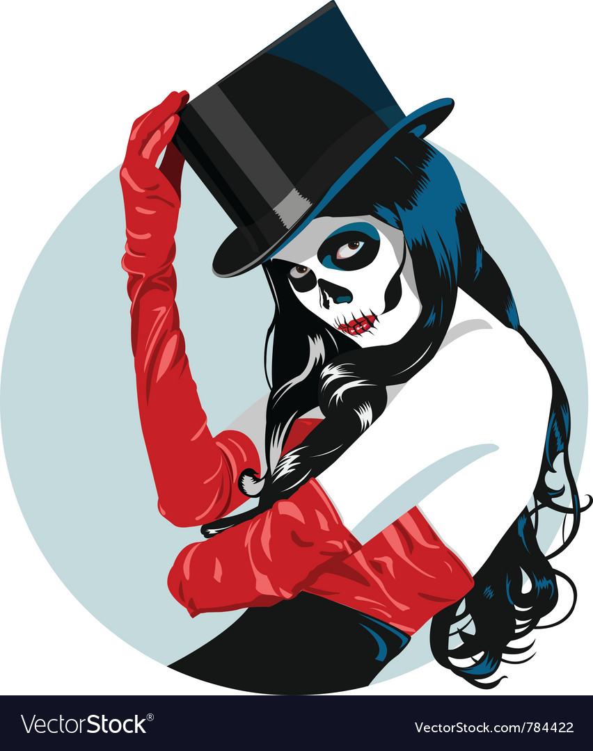 Sugar skull girl vector