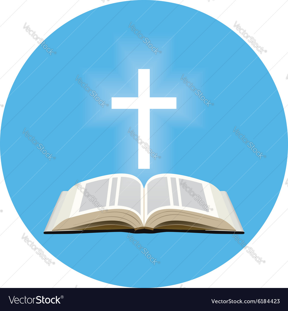 Bible and shining cross concept icon in blue vector