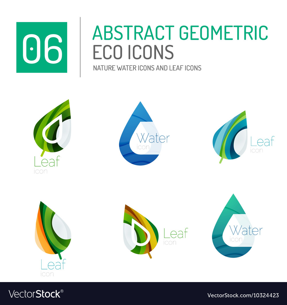 Set of abstract eco water and leaves icons vector