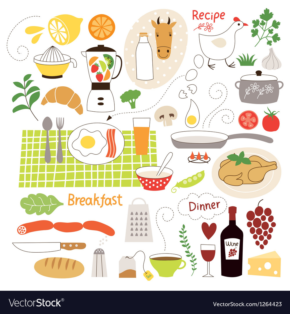 Set of cartoon food ingredient vector