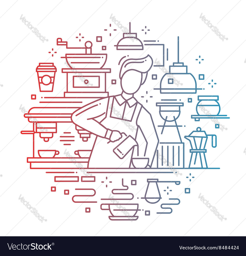 Male barista making coffee  line design vector