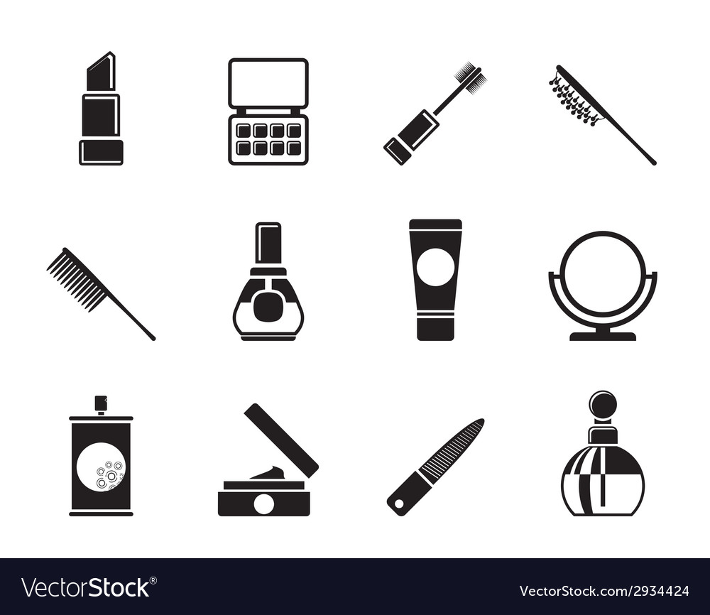 Silhouette cosmetic and makeup icons vector