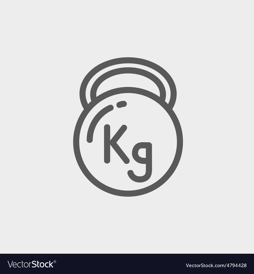 Kettlebell thin line icon vector