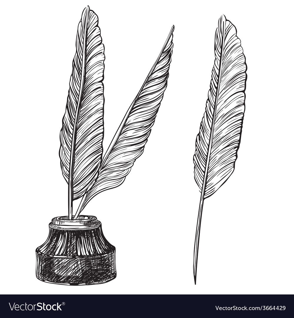 Quill pens and inkwell vector
