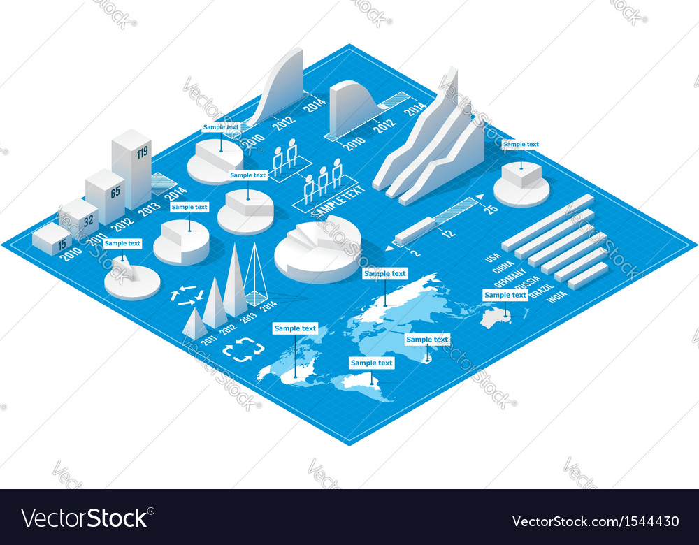Isometric infographic elements vector