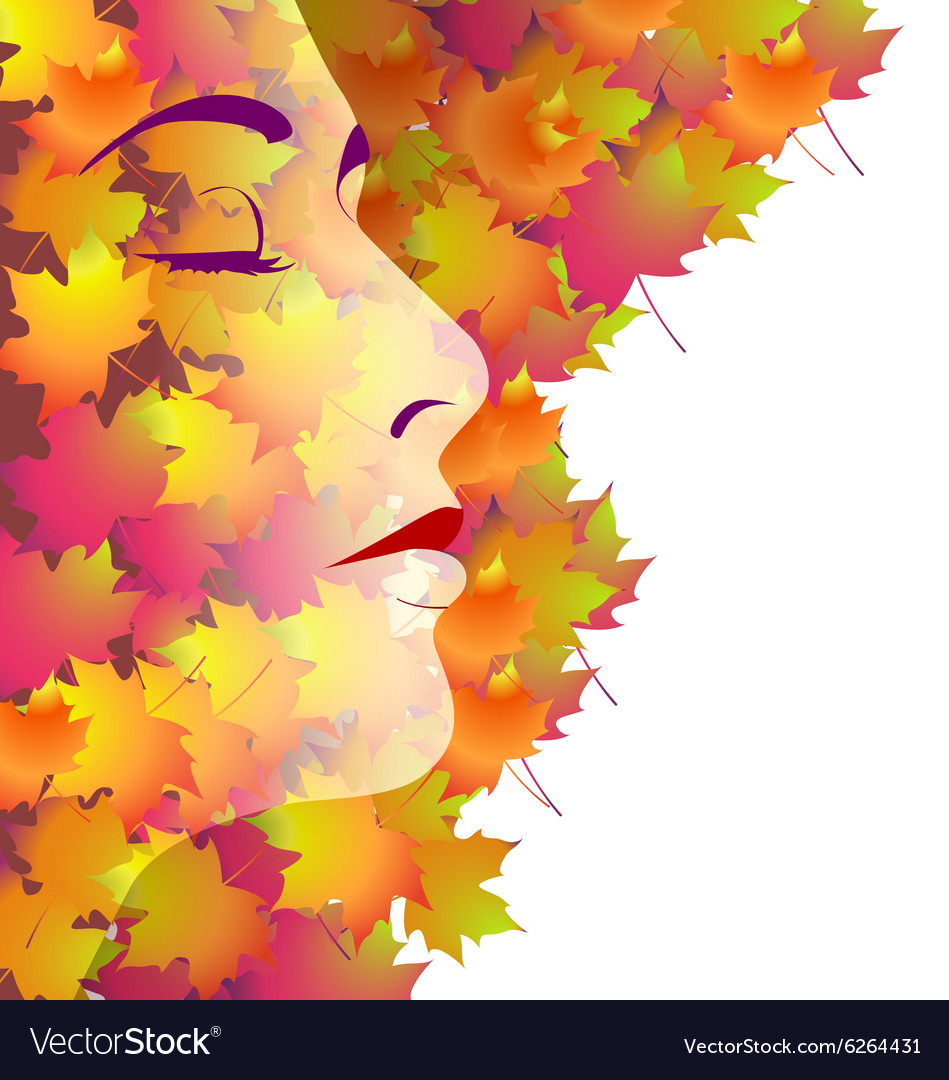 Backround with womans face and autumn leaves vector