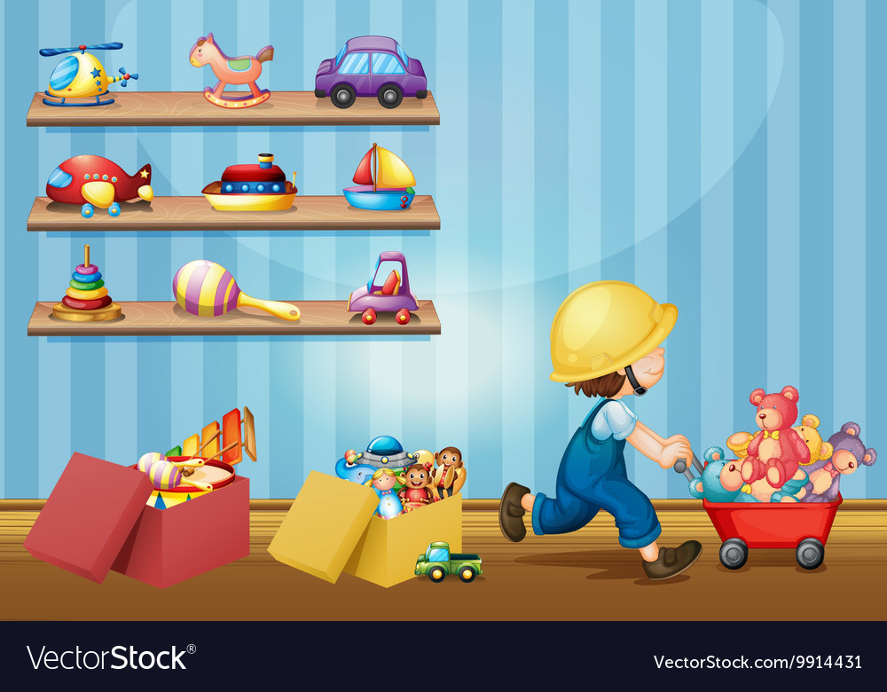 Boy playing with toys in the room vector
