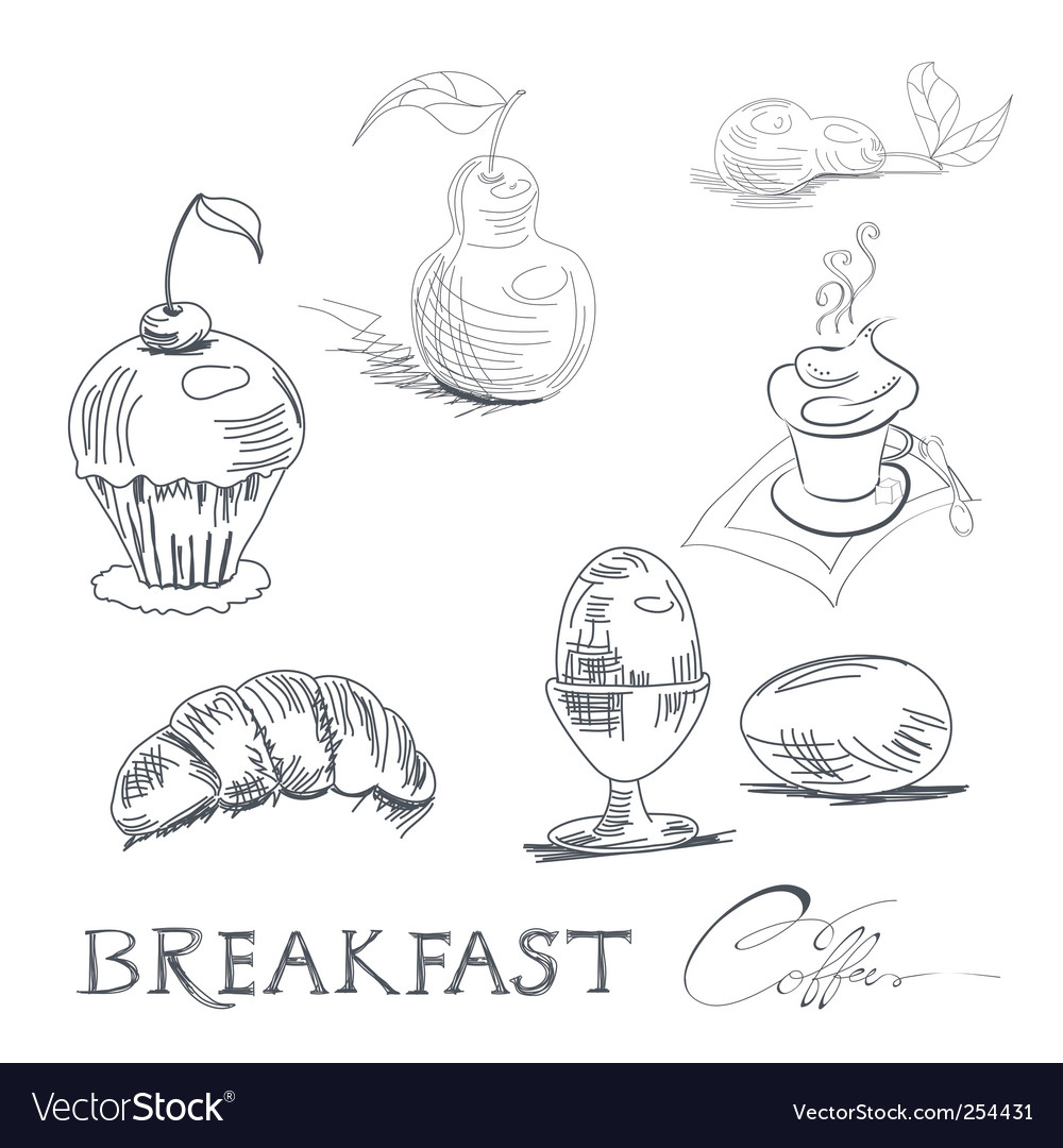 Breakfast sketch vector