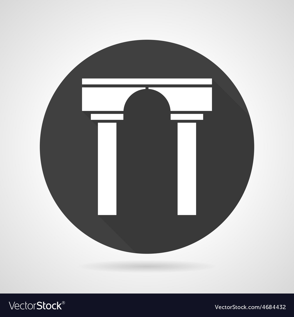 Arch with pillars black round icon vector