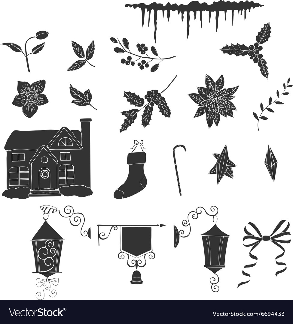 Christmas decoration silhouettes vector