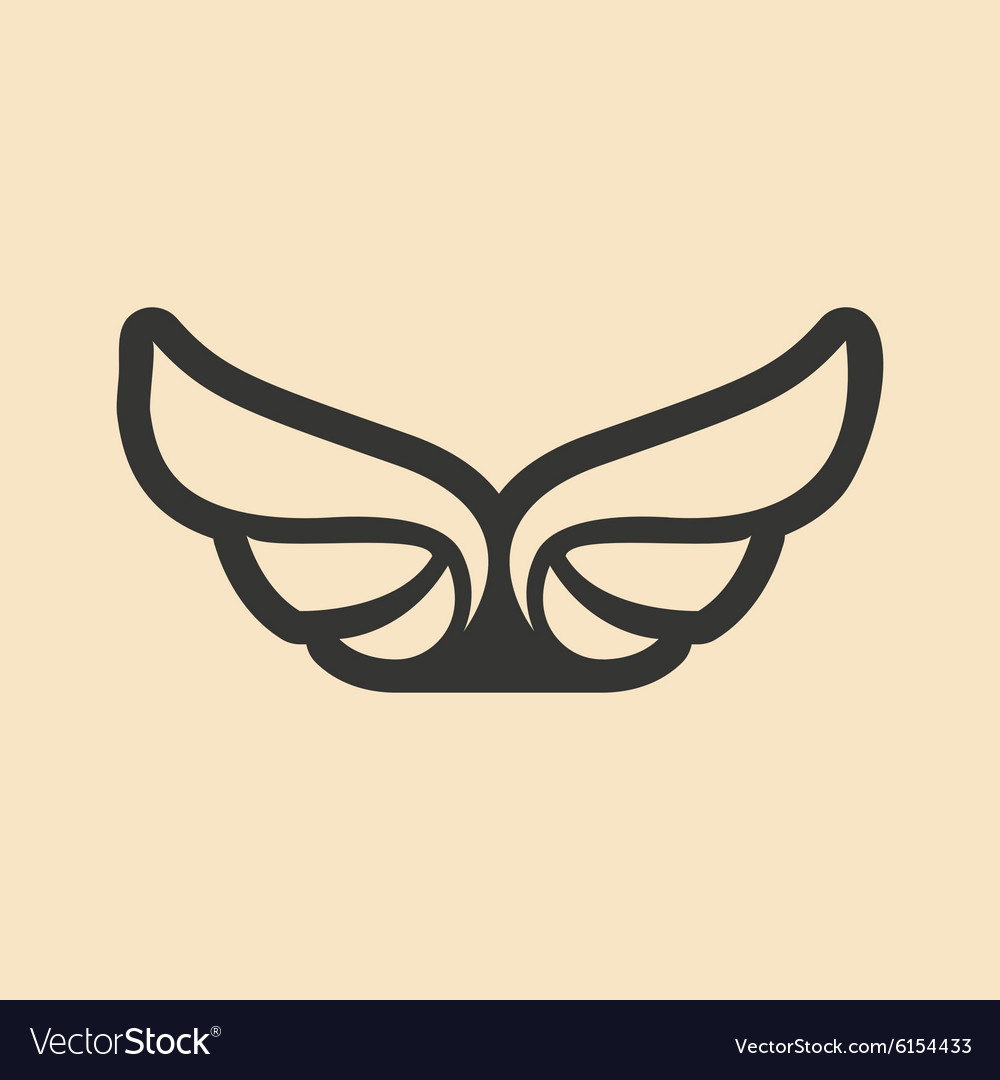 Flat in black and white mobile application wings vector