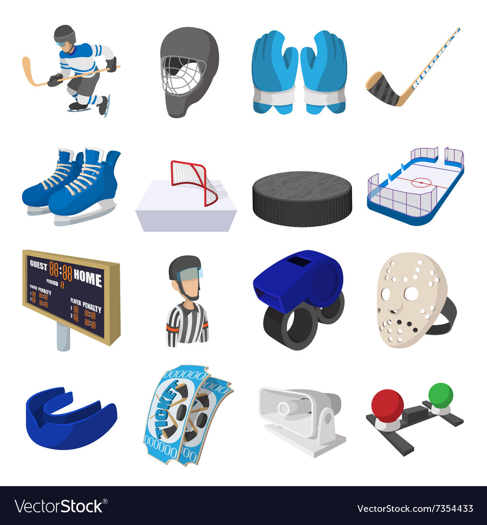 Hockey cartoon icons set vector