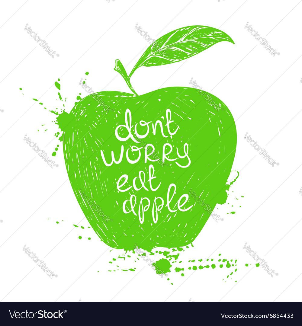 Isolated green apple silhouette vector