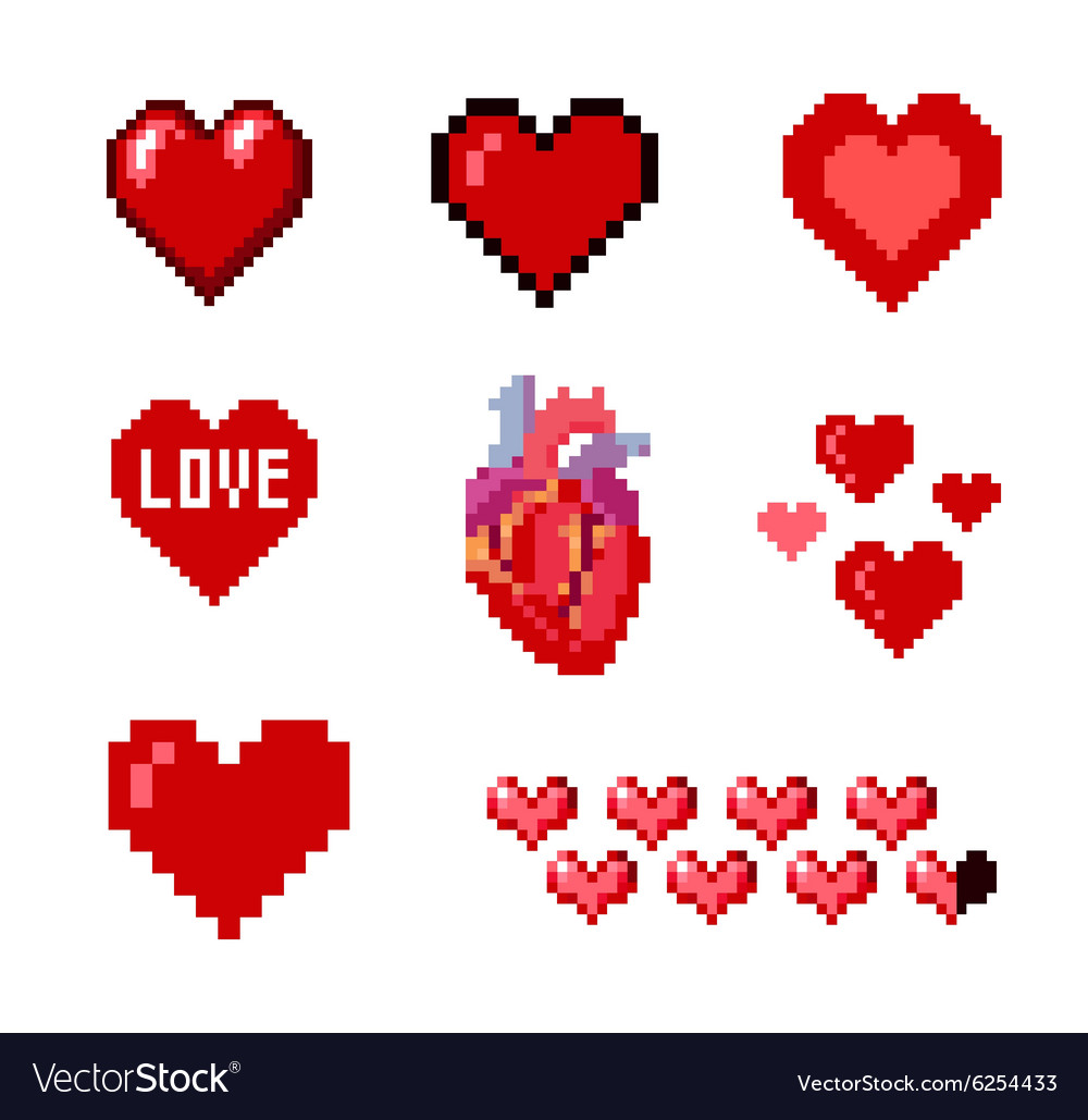 Set of pixel hearts vector