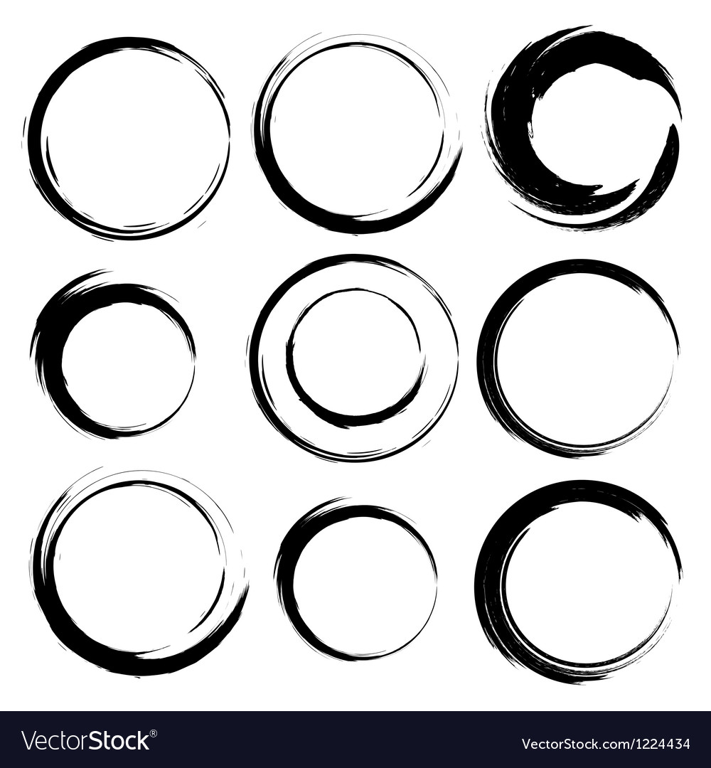 Set of grunge circle brush strokes set 4 vector