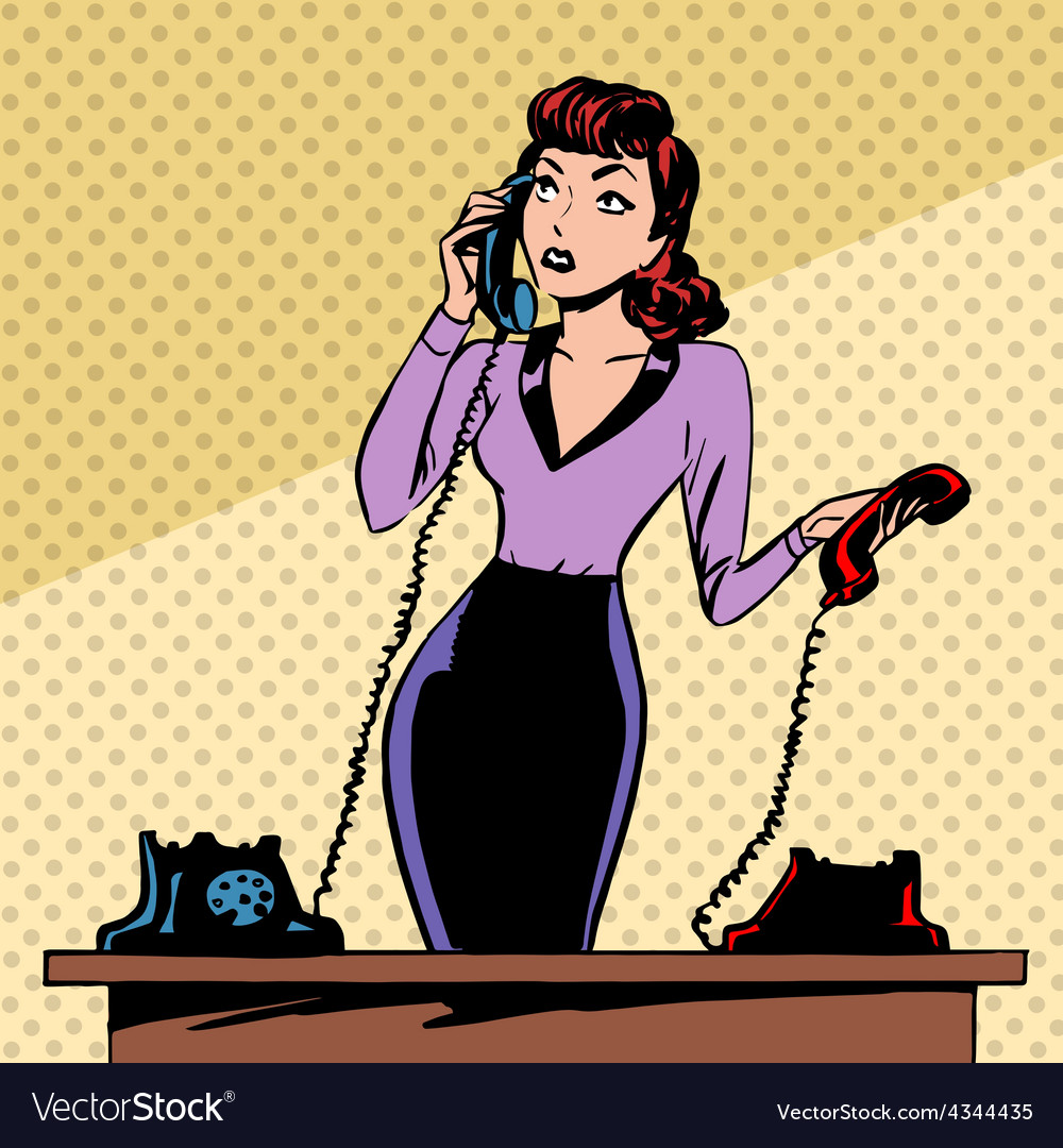 Girl secretary answers the phone progress and vector