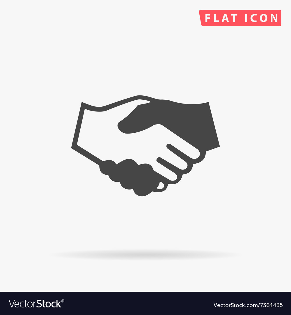 Handshake simple flat icon vector
