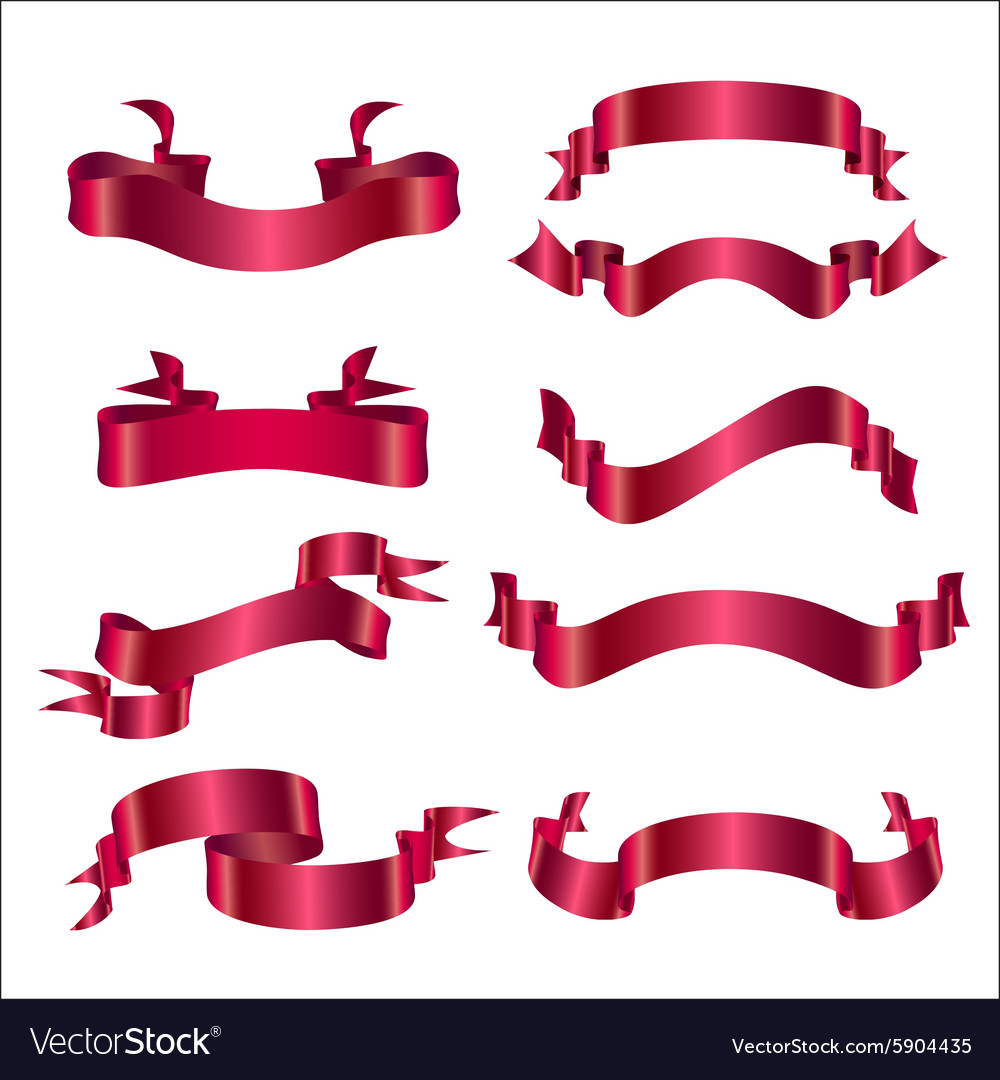 Set ribbon red vector